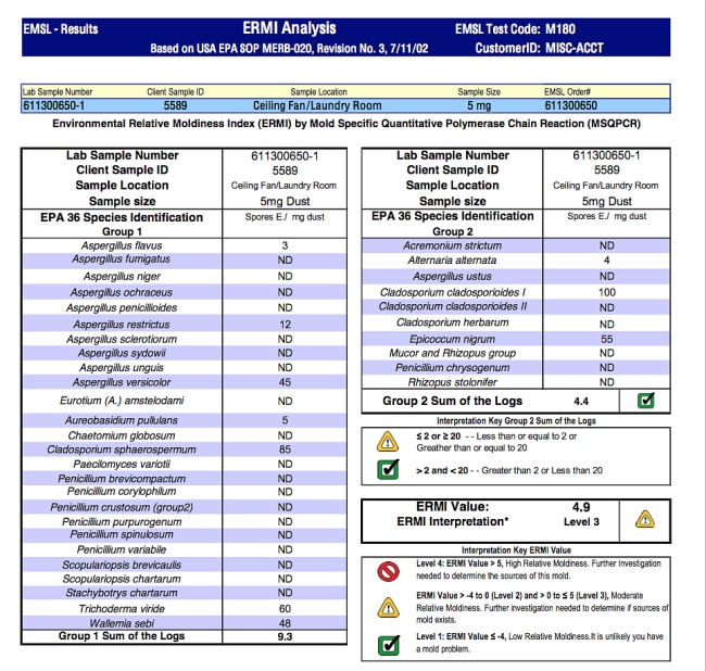ERMI Report Sample - click to enlarge